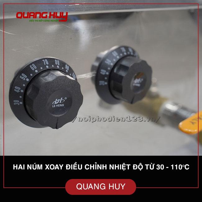 Hai núm xoay điều chỉnh nhiệt độ từ 30-110 độ C