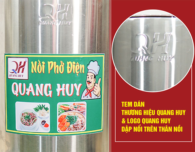Logo dập nổi Quang Huy trên nồi phở điện