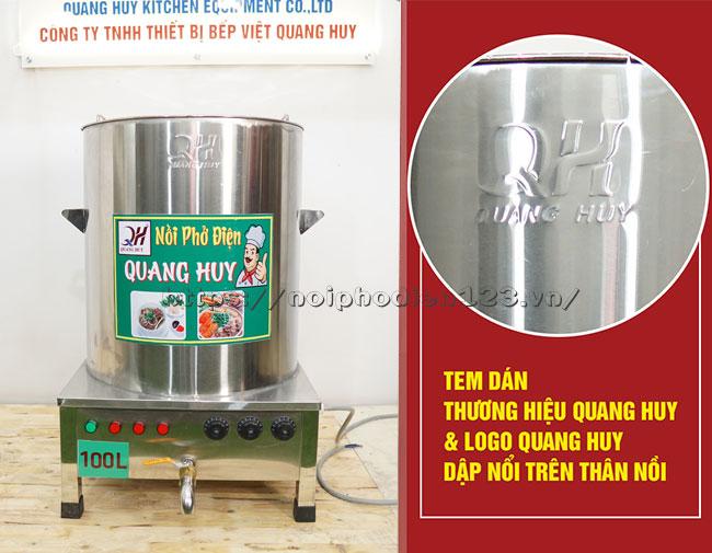 Logo dập nổi thương hiệu Quang Huy nồi phở 100 lit