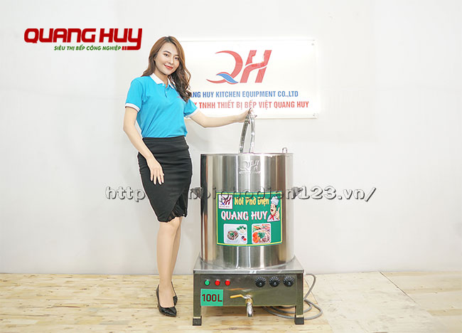 Mẫu nồi nấu phở điện 100 lit Quang Huy