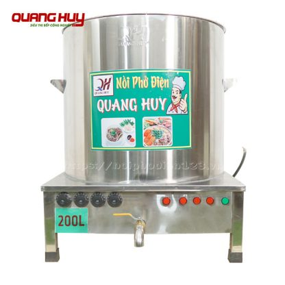 Nồi inox nấu phở bằng điện 200 lít Quang Huy