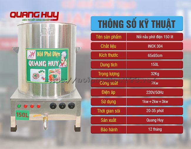 Thông số kỹ thuật nồi hầm xương bằn điện 150 lit Quang Huy