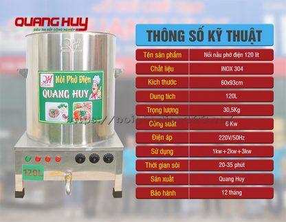 Thông số kỹ thuật nồi nấu phở điện 120 Lít Quang Huy