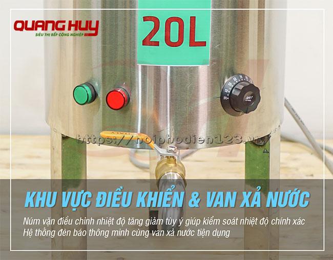 Van xả, điều khiển nồi phở không bệ 20 lit Quang Huy