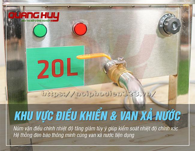 Van xả nồi nấu phở 20 lit bằng điện Quang Huy