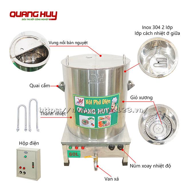 Cấu tạo chi tiết nồi phở điện 60 Lit Quang Huy