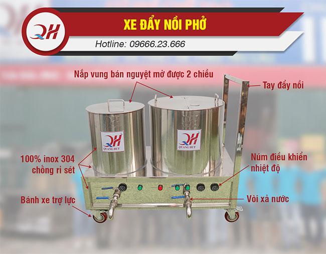 Cấu tạo các bộ phận xe đẩy nồi phở Quang Huy