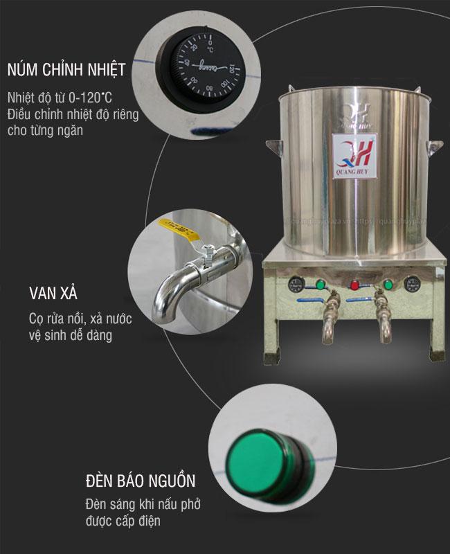 Hệ thống điều chỉnh nhiệt độ với nồi điện nấu phở 2 ngăn