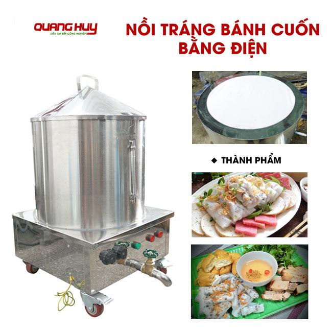 Hấp bánh cuốn nóng ngon hơn với nồi làm bánh cuốn điện Quang Huy