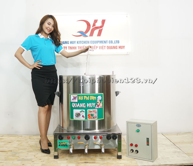 Nồi nấu phở bằng điện 3 ngăn 200 Lit kèm tủ điện