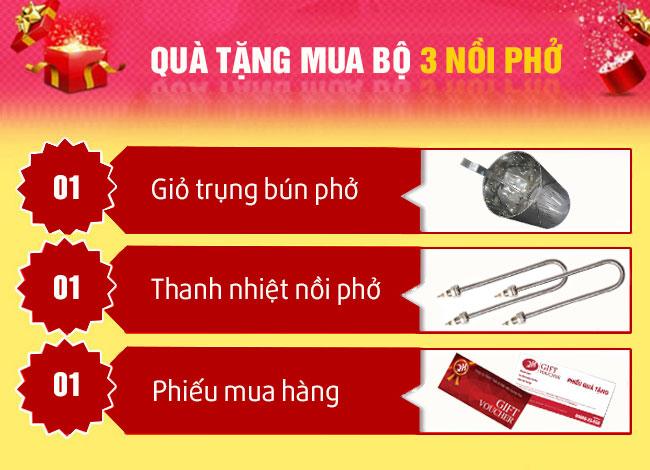 Quà tặng mua bộ 3 nồi phở Quang Huy