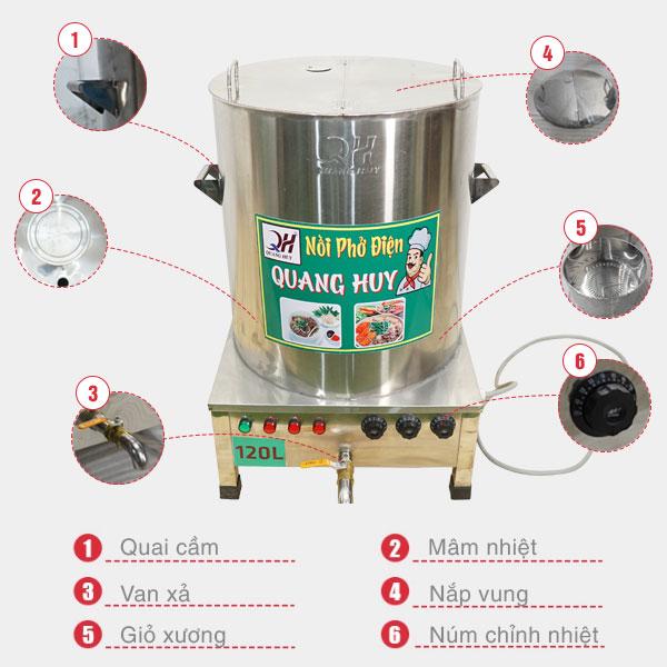 Cấu tạo nồi phở điện cơ khí Quang Huy