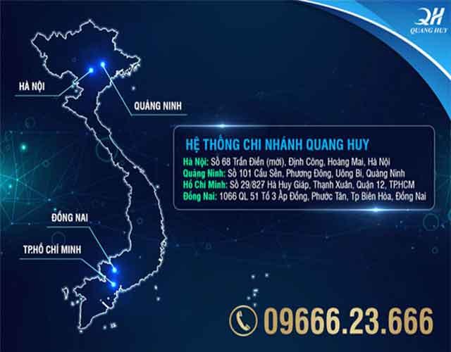 Địa chỉ các chi nhánh cơ sở Quang Huy
