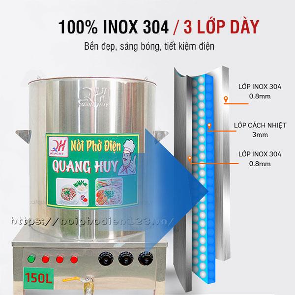 Nồi phở Quang Huy sản xuất từ Inox 304 bền đẹp