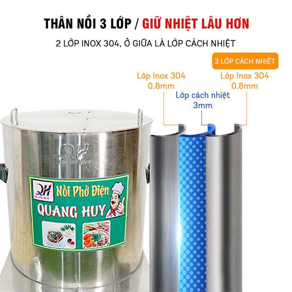 Chất liệu nồi phở Quang Huy inox 304 3 lớp