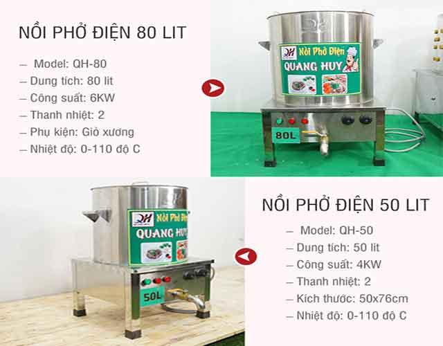 Thông số kỹ thuật bộ 2 nồi nấu phở Quang Huy