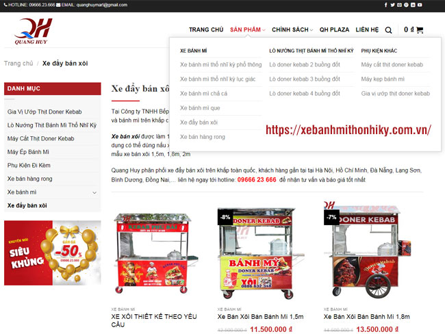 Đặt mua xe bánh mì Online tại website: xebanhmithonhiky.com.vn