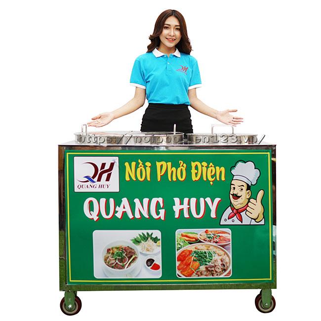 Mẫu nồi phở điện chung bệ xe đẩy Quang Huy
