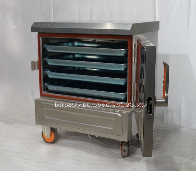 Mẩu tủ cơm công nghiệp bằng điện mini 4 khay