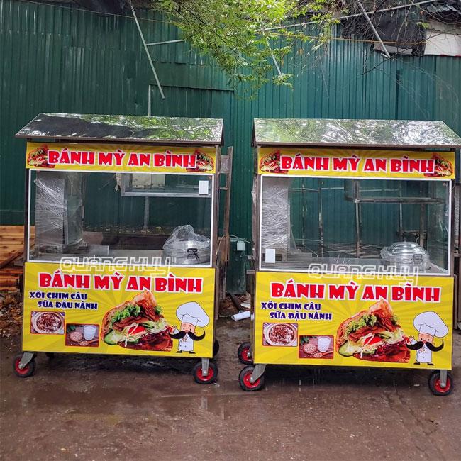 Mẫu xe đẩy bánh mì bán xôi Quang Huy gia công