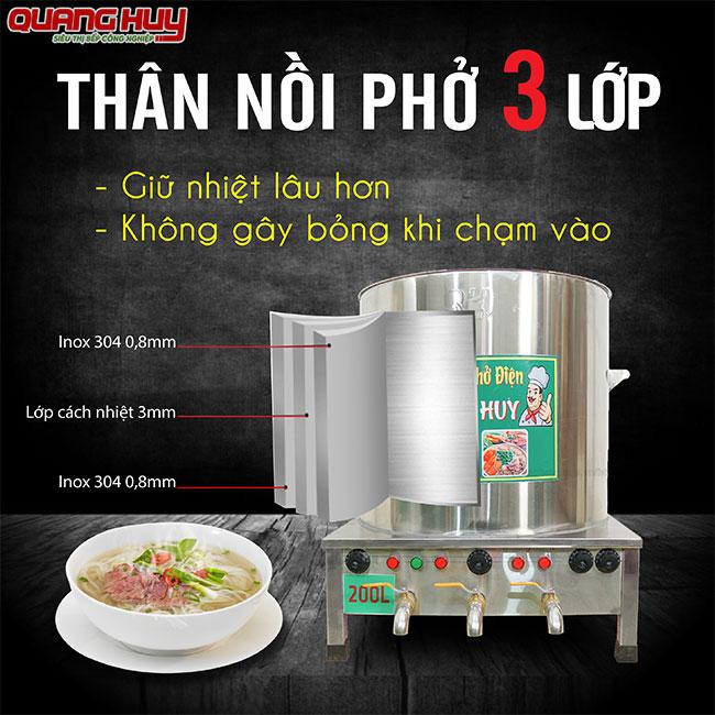 Thân nồi phở Inox 304 3 lớp thương hiệu Quang Huy