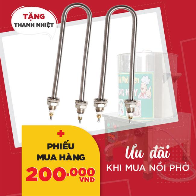 Tặng kèm thanh nhiệt nồi phở và phiếu mua hàng 200k khi mua nồi phở Quang Huy