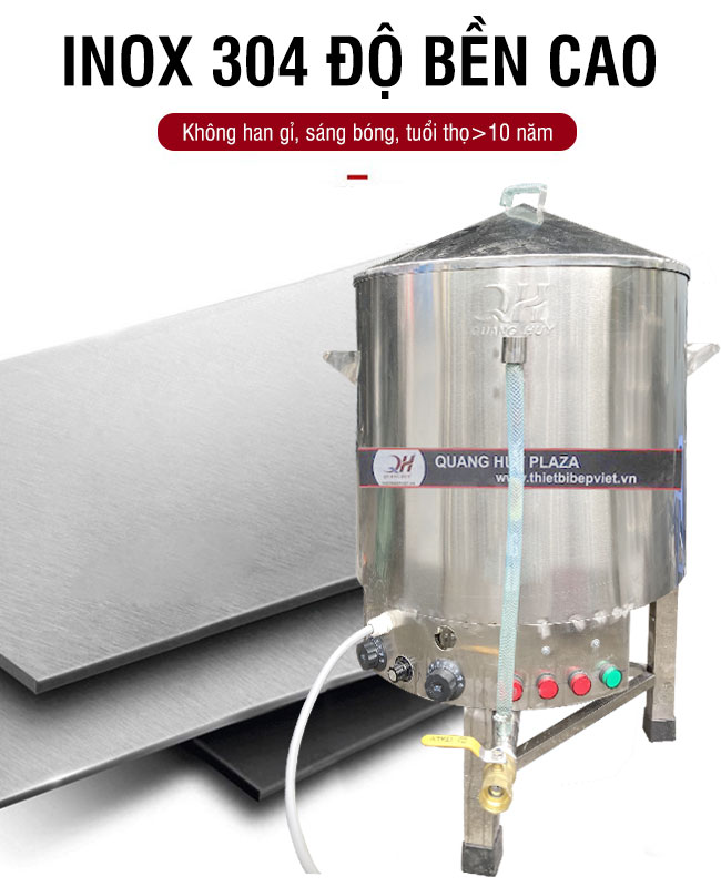 Chất liệu nồi hấp công nghiệp Inox 304 không gỉ