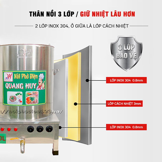 Chất liệu nồi phở Inox 304 3 lớp dày, cách nhiệt, giữ nhiệt tốt