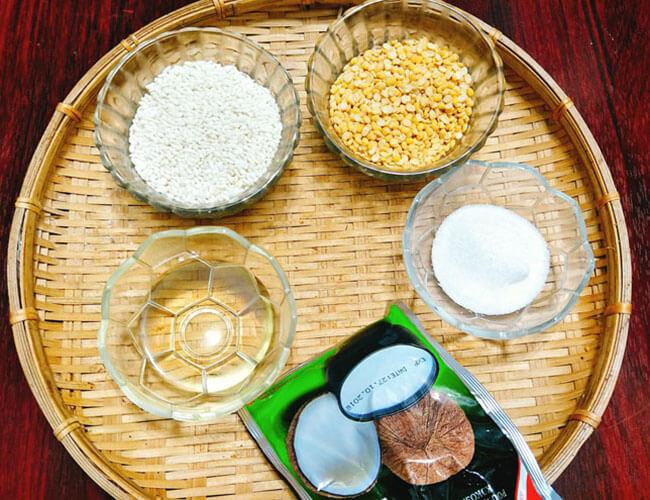 Nguyên liệu để nấu xôi vò nước cốt dừa