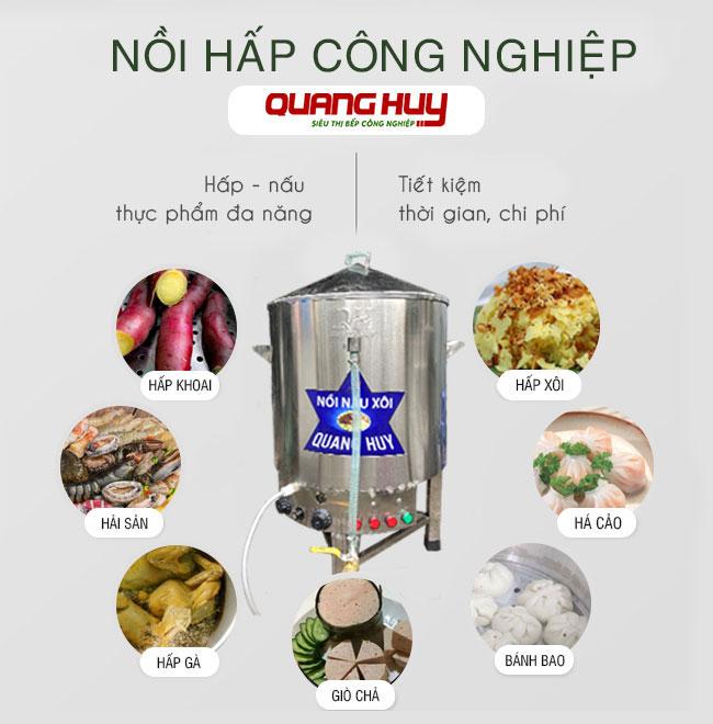 Nồi hấp công nghiệp Quang Huy nấu hấp thực phẩm đa năng