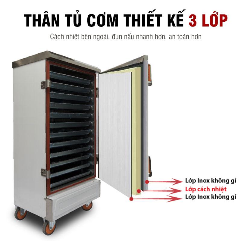 Thân tủ cơm Inox thiết kế 3 lớp