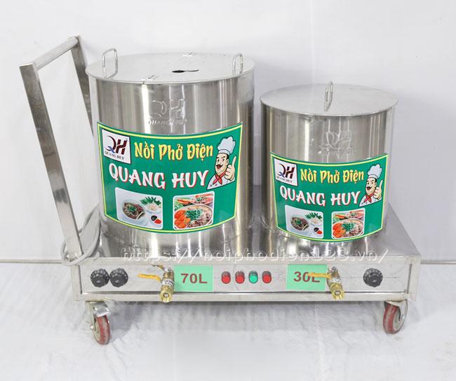 Bộ nồi nấu phở đôi 70-30 lít xe đẩy