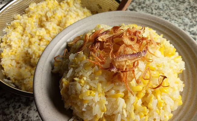 Cách nấu xôi bắp mặn đậu xanh hành phi