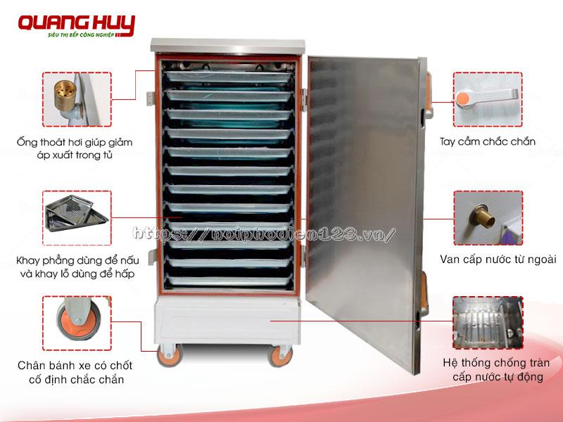 Cấu tạo chung dòng tủ hấp công nghiệp bằng điện