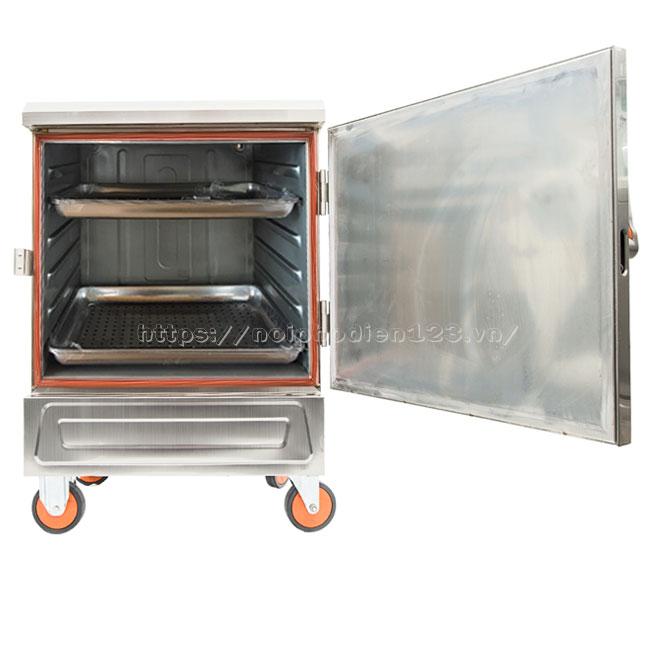 Khoang chứa tủ nấu - hấp công nghiệp 6 khay bằng điện