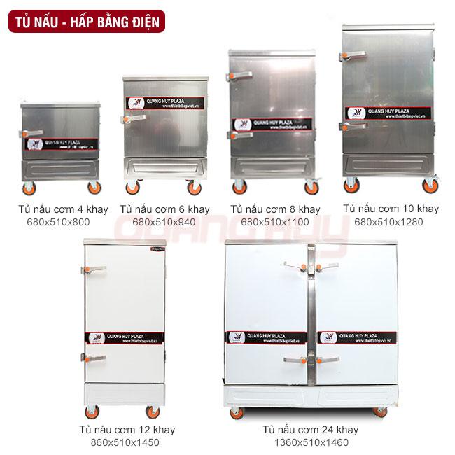 Kích thước mẫu mã tủ hấp nấu công nghiệp do Quang Huy phân phối