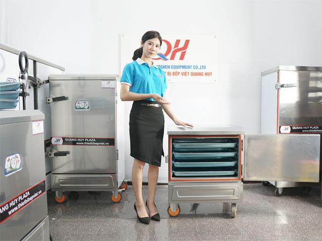 Mẫu tủ cơm công nghiệp bằng điện mini khay Quang Huy phân phối