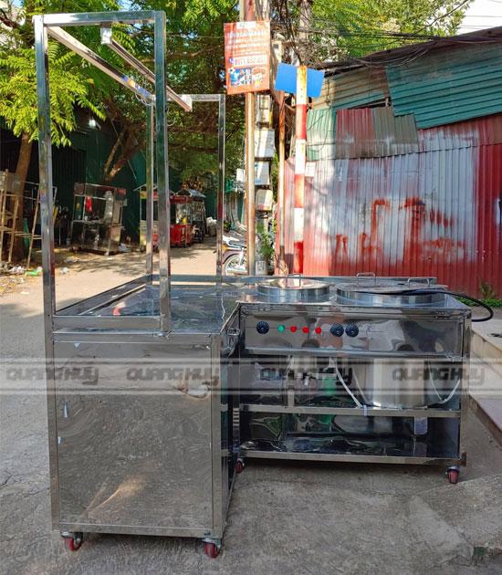 Mẫu xe đẩy bán phở bằng Inox 2 nồi điện