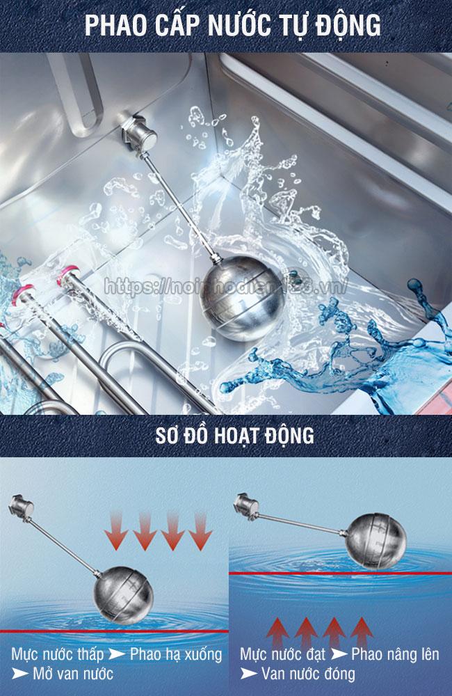 Hoạt động của phao cấp nước tự động tủ cơm công nghiệp