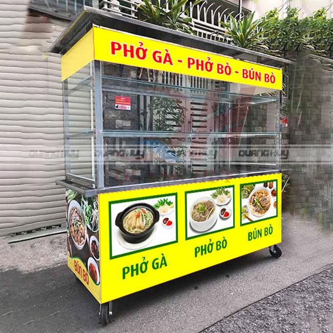 Xe bán phở thiết kế đơn giản để trưng bày, chế biến món ăn