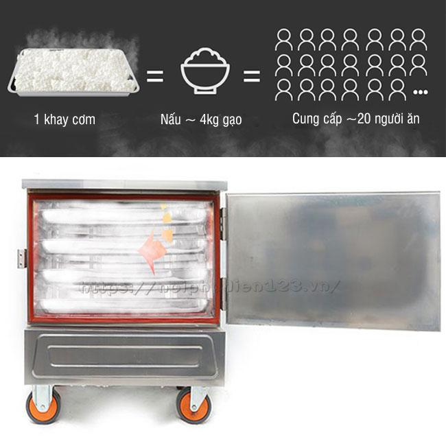 Tủ cơm điện 4 khay đáp ứng lượng cơm cho quán cơm nhỏ