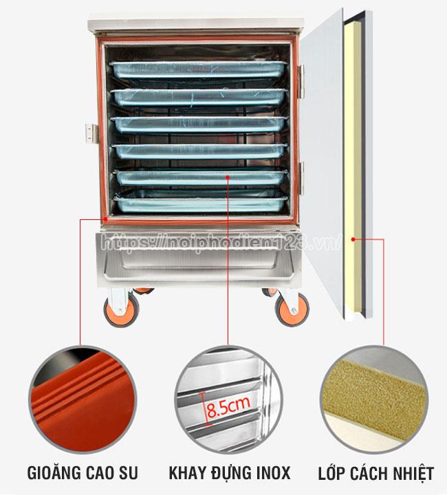 Tủ cơm điện 6 khay cấu tạo 3 lớp, nấu chín thực phẩm nhanh chóng