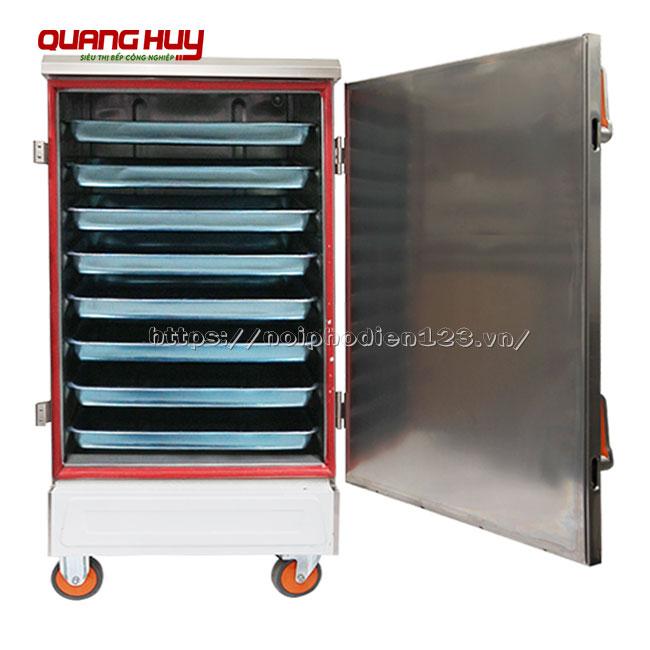 Tủ hấp cơm công nghiệp 8 khay bằng điện Quang Huy