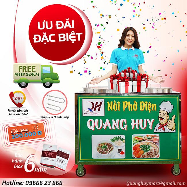 Ưu đãi đặc biệt khi mua nồi phở điện Quang Huy