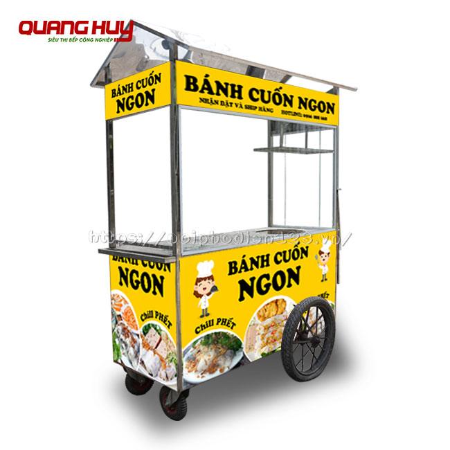 Mẫu xe đẩy bán bánh cuốn, bánh ướt nóng Quang Huy