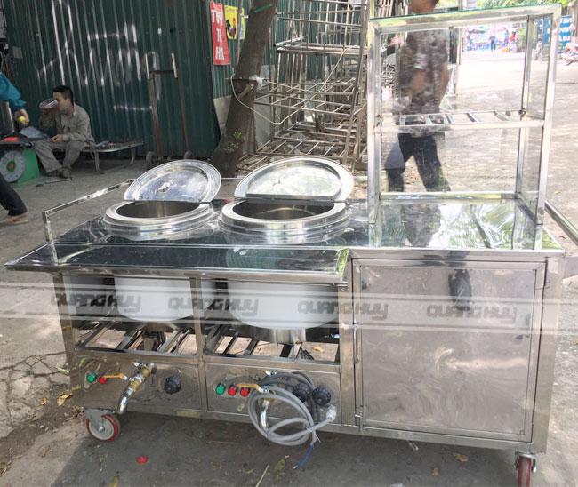 Xe bán phở inox 304 Quang Huy với 2 nồi nước lèo