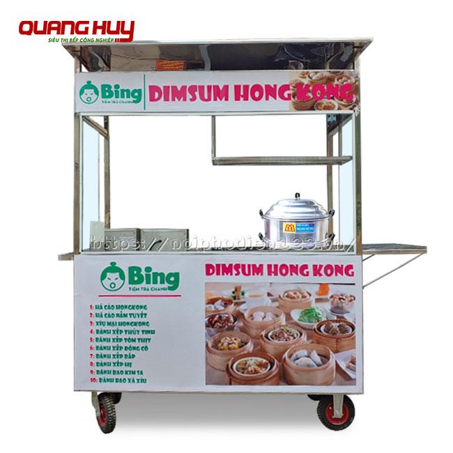 Xe đẩy bán dimsum, há cao, bánh bao Inox Quang Huy