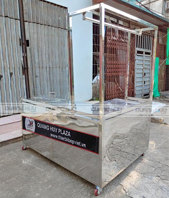 Xe đẩy bán phở Inox 304 Quang Huy đặt theo yêu cầu khách hàng