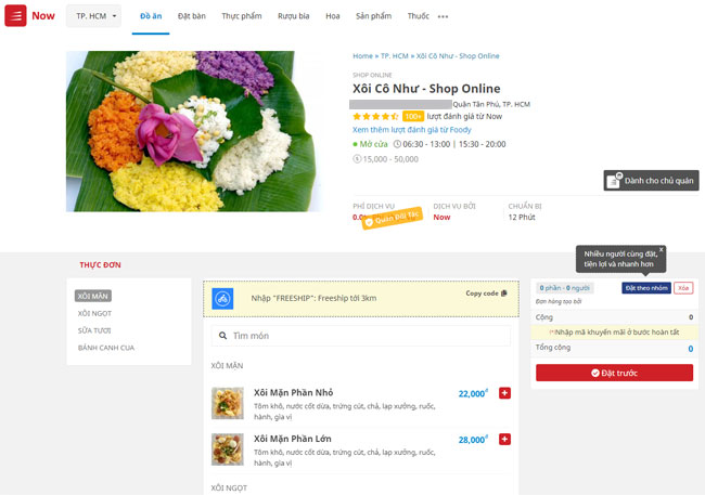 Bán xôi Online qua ứng dụng NowFood cũng là hình thức kinh doanh kiếm lời khủng