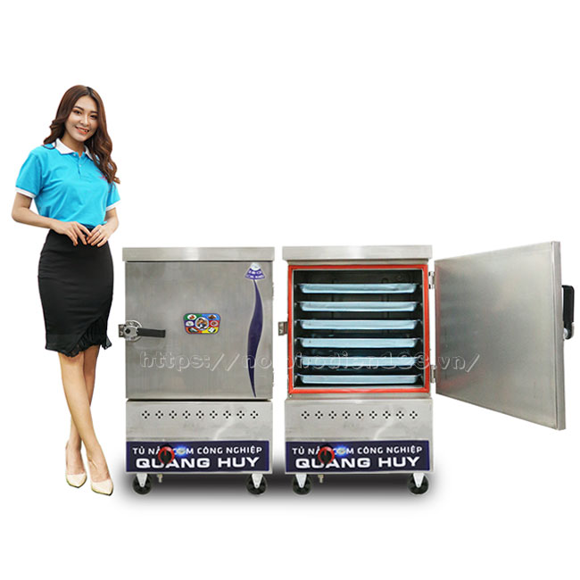 Mẫu tủ cơm công nghiệp bằng gas 6 khay do Quang Huy phân phối